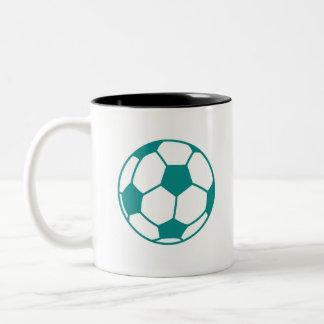 Teal Green Soccer Ball Two-Tone Coffee Mug
