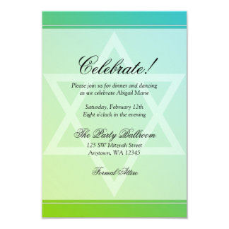 Teal Green Star of David Bat Mitzvah Reception Card