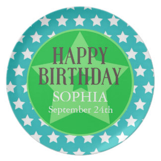 Teal & Green Star Personalized Birthday Plate