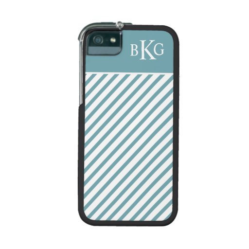 Teal Green Stripes & Monogram Cover For iPhone 5/5S