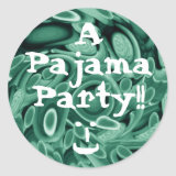 Teal Green Swirling Circles & Hearts Pajama Party sticker