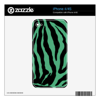 Teal Green Tiger Striped Skins Decals For The iPhone 4S