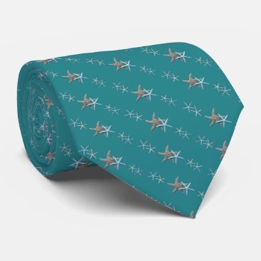 Beach Themed Teal Green Tiny Starfish Diagonal Print Tie