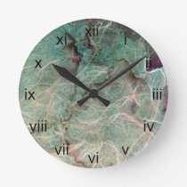 Teal Green Vintage Wallpaper Abstract Round Clock