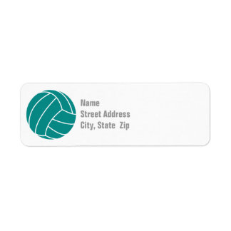 Teal Green Volleyball Label