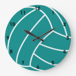 Teal Green Volleyball Large Clock