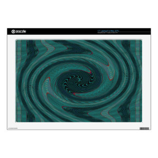 teal green vortex abstract laptop decals