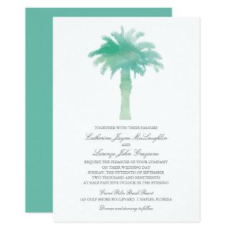 Teal Green Watercolor Palm Tree Wedding Invitation