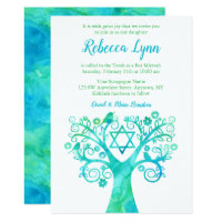 Teal Green Watercolor Tree of Life Bat Mitzvah Card