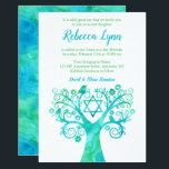 "Teal Green Watercolor Tree of Life Bat Mitzvah Invitation<br><div class=""desc"">Modern teal and green tree of life Bat Mitzvah invitations. This unique design features a watercolor swirl tree,  flower,  birds and the Star of David.</div>"