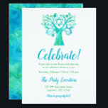 """Teal Green Watercolor Tree of Life Reception Invitation<br><div class=""""desc"""">Modern teal and green tree of life Bat Mitzvah party reception cards. This unique design features a watercolor swirl tree,  flower,  birds and the Star of David.</div>"""