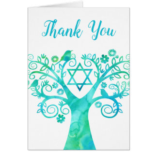 Teal Green Watercolor Tree of Life Thank You Card