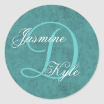 Teal Green Wedding Monogram D or Any Initial S25 Round Sticker