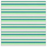 [ Thumbnail: Teal, Green & White Colored Lines/Stripes Pattern Fabric ]