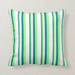 [ Thumbnail: Teal, Green & White Colored Lines/Stripes Pattern Throw Pillow ]