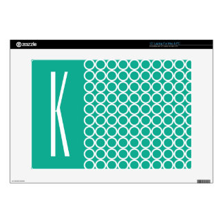 Teal Green & White Retro Circles Decals For Laptops
