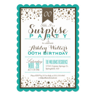Teal Green, White, Taupe Surprise Party Card