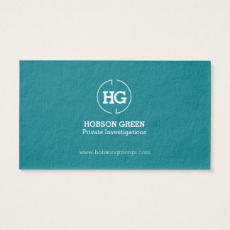 Teal green white two letter logo business card