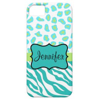 Teal Green  White Zebra Leopard Skin Name iPhone SE/5/5s Case