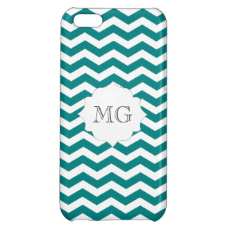 Teal Green White Zigzag Chevron Monogram Iphone 5C Cover For iPhone 5C