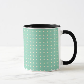 Teal green with small cream polka dots mug