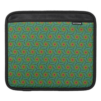 Teal green yellow and red fractal trippy design iPad sleeve