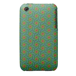 Teal green yellow and red fractal trippy design iPhone 3 cases
