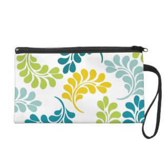 Teal Green Yellow Floral Pattern Wristlet Purse