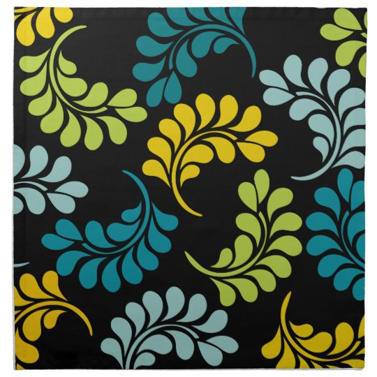 Teal Green Yellow Flowers Monogram Cloth Napkin