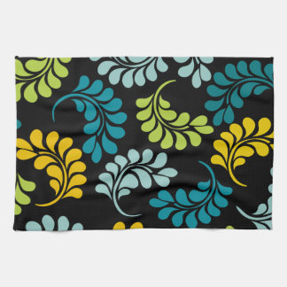 Teal Green Yellow Flowers Monogram Hand Towels. Teal Kitchen Towels   Zazzle
