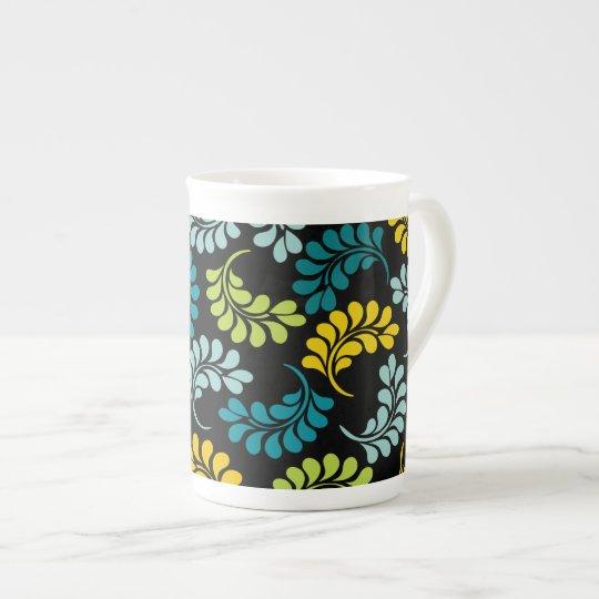 Teal Green Yellow Flowers Monogram Tea Cup