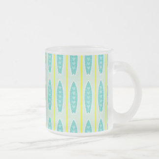 Teal green & yellow hearts design 10 oz frosted glass coffee mug