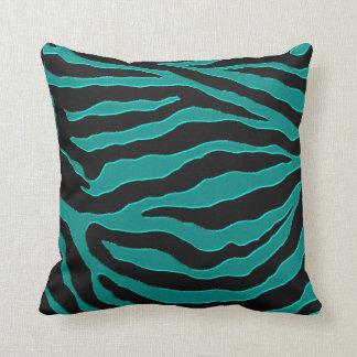Teal Green Zebra Monogram Animal Print Pillow