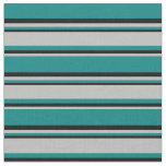 [ Thumbnail: Teal, Grey, and Black Colored Stripes Fabric ]