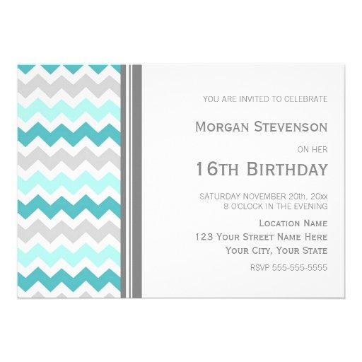 Teal Grey Chevron 16th Birthday Party Invitation