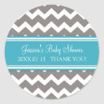 Teal Grey Chevron Baby Shower Favor Stickers
