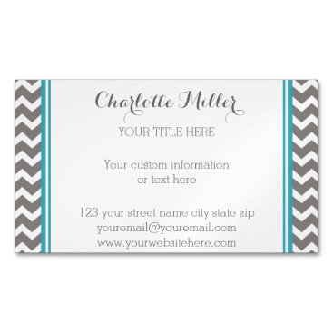Professional Business Teal Grey Chevron Magnetic Business Card