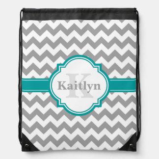 Teal Grey Chevron Pattern & Moroccan Quatrefoil Drawstring Bag