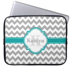 Teal Grey Chevron Pattern & Moroccan Quatrefoil Laptop Sleeve at Zazzle