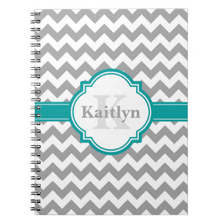 Teal Grey Chevron Pattern & Moroccan Quatrefoil Notebook