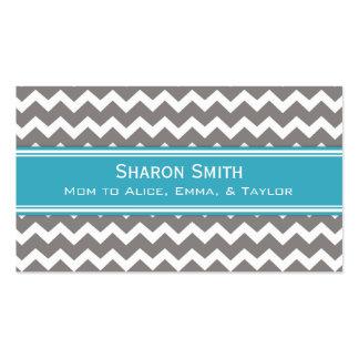 Teal Grey Chevron Retro Mom Calling Cards