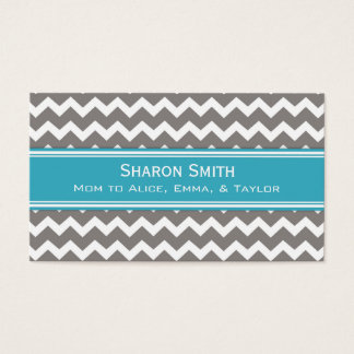 Teal Grey Chevron Retro Mom Calling Cards