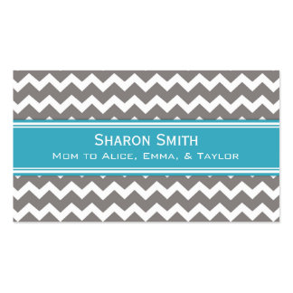 Teal Grey Chevron Retro Mom Calling Cards Double-Sided Standard Business Cards (Pack Of 100)