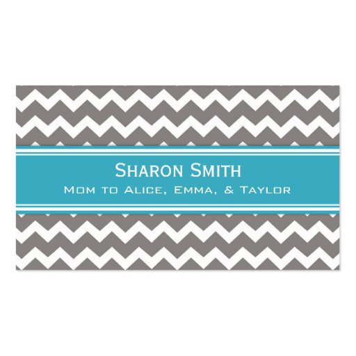Teal Grey Chevron Retro Mom Calling Cards Business Card