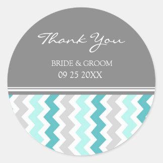 Teal Grey Chevron Thank You Wedding Favor Tags Classic Round Sticker