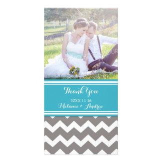 Teal Grey Chevron Thank You Wedding Photo Cards