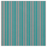 [ Thumbnail: Teal & Grey Colored Stripes Pattern Fabric ]