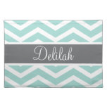 Teal Grey Gray Chevron Custom Cloth Placemat