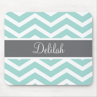 Teal Grey Gray Chevron Custom Mouse Pad