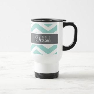 Teal Grey Gray Chevron Custom Travel Mug